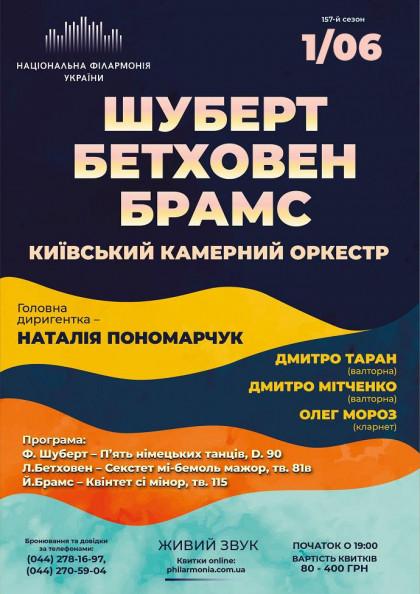 Шуберт, Бетховен, Брамс. Київський камерний оркестр