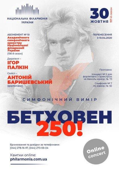 Онлайн концерт: Антоній Баришевський(фортепіано). Симфонічний оркестр НФУ.